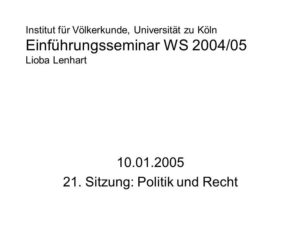 Institut für Völkerkunde, Universität zu Köln Einführungsseminar WS 2004/05 Lioba Lenhart 10.01.2005 21. Sitzung: Politik und Recht