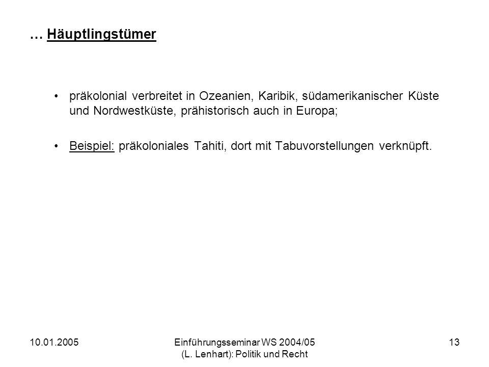10.01.2005Einführungsseminar WS 2004/05 (L. Lenhart): Politik und Recht 13 … Häuptlingstümer präkolonial verbreitet in Ozeanien, Karibik, südamerikani