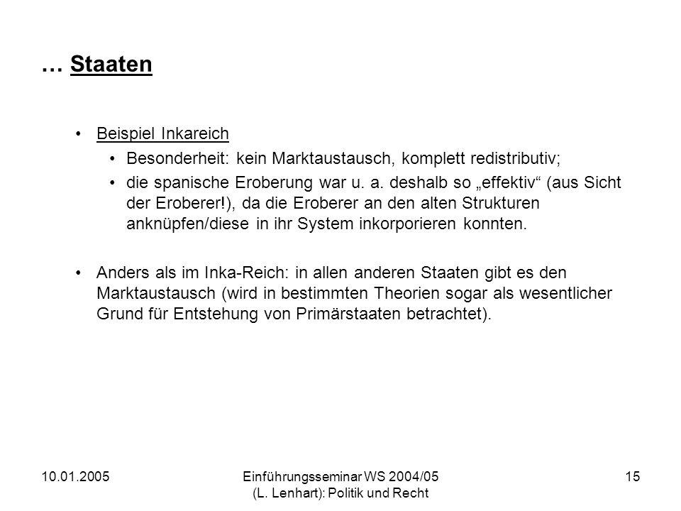 10.01.2005Einführungsseminar WS 2004/05 (L. Lenhart): Politik und Recht 15 … Staaten Beispiel Inkareich Besonderheit: kein Marktaustausch, komplett re