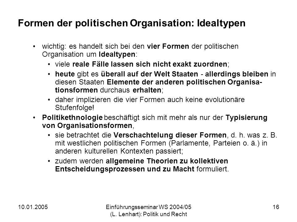 10.01.2005Einführungsseminar WS 2004/05 (L. Lenhart): Politik und Recht 16 Formen der politischen Organisation: Idealtypen wichtig: es handelt sich be