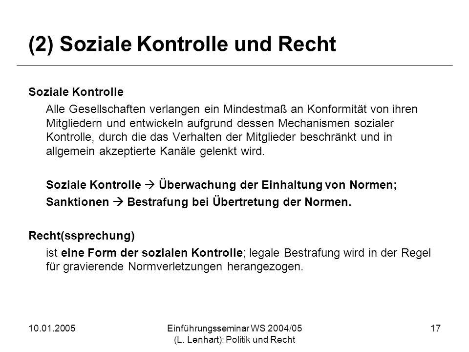 10.01.2005Einführungsseminar WS 2004/05 (L. Lenhart): Politik und Recht 17 (2) Soziale Kontrolle und Recht Soziale Kontrolle Alle Gesellschaften verla