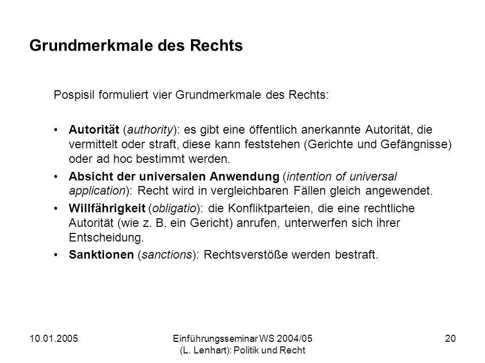 10.01.2005Einführungsseminar WS 2004/05 (L. Lenhart): Politik und Recht 20 Grundmerkmale des Rechts Pospisil formuliert vier Grundmerkmale des Rechts: