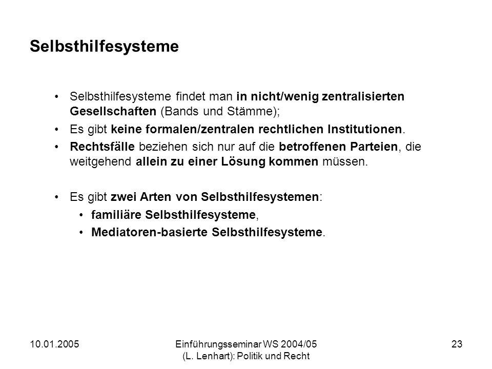 10.01.2005Einführungsseminar WS 2004/05 (L. Lenhart): Politik und Recht 23 Selbsthilfesysteme Selbsthilfesysteme findet man in nicht/wenig zentralisie