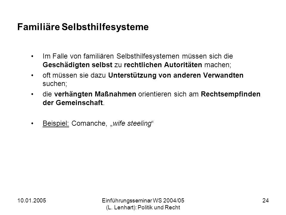 10.01.2005Einführungsseminar WS 2004/05 (L. Lenhart): Politik und Recht 24 Familiäre Selbsthilfesysteme Im Falle von familiären Selbsthilfesystemen mü