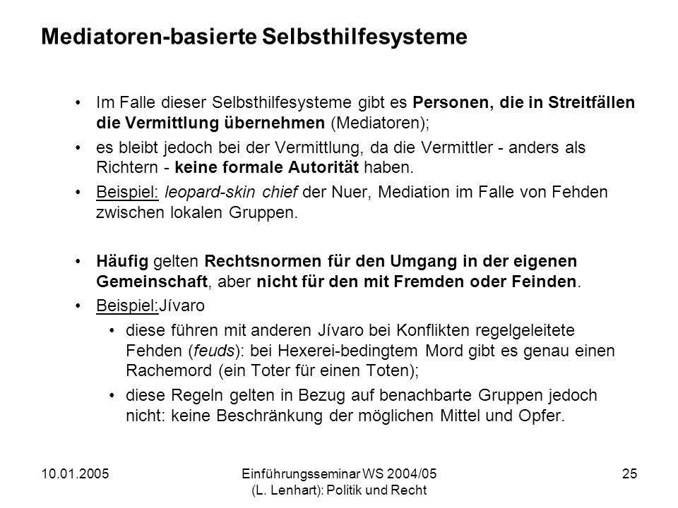 10.01.2005Einführungsseminar WS 2004/05 (L. Lenhart): Politik und Recht 25 Mediatoren-basierte Selbsthilfesysteme Im Falle dieser Selbsthilfesysteme g