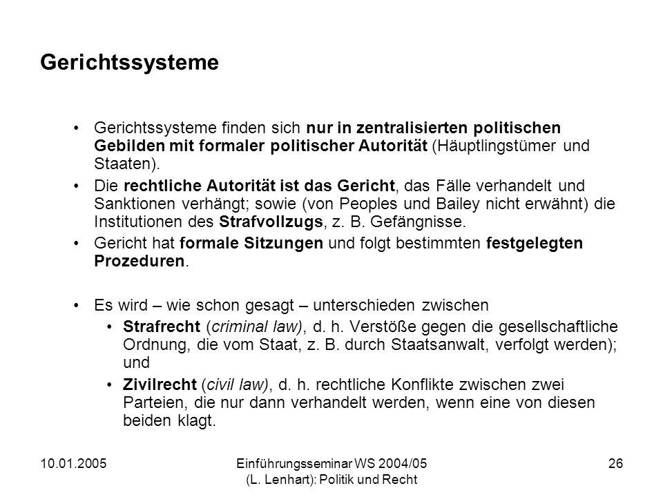 10.01.2005Einführungsseminar WS 2004/05 (L. Lenhart): Politik und Recht 26 Gerichtssysteme Gerichtssysteme finden sich nur in zentralisierten politisc