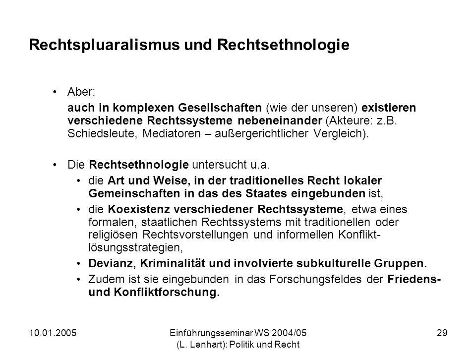 10.01.2005Einführungsseminar WS 2004/05 (L. Lenhart): Politik und Recht 29 Rechtspluaralismus und Rechtsethnologie Aber: auch in komplexen Gesellschaf