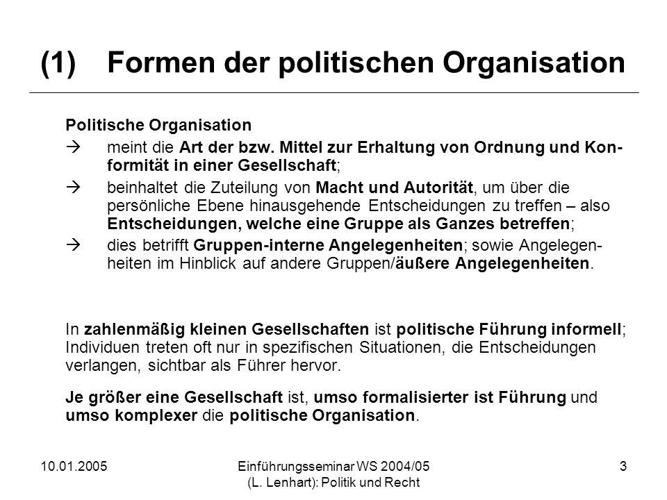10.01.2005Einführungsseminar WS 2004/05 (L. Lenhart): Politik und Recht 3 (1)Formen der politischen Organisation Politische Organisation meint die Art