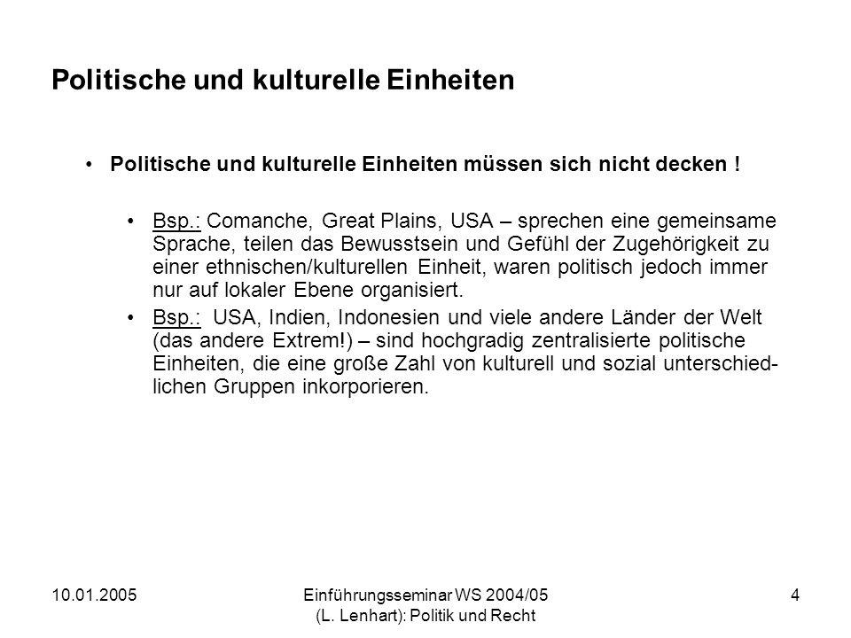 10.01.2005Einführungsseminar WS 2004/05 (L. Lenhart): Politik und Recht 4 Politische und kulturelle Einheiten Politische und kulturelle Einheiten müss