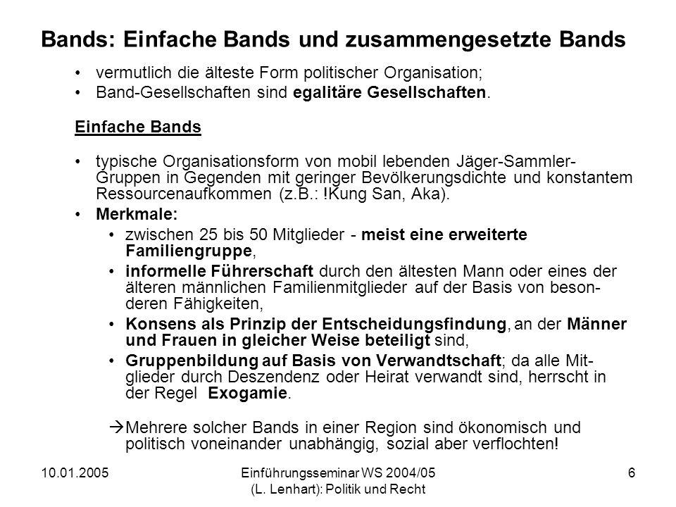 10.01.2005Einführungsseminar WS 2004/05 (L. Lenhart): Politik und Recht 6 Bands: Einfache Bands und zusammengesetzte Bands vermutlich die älteste Form