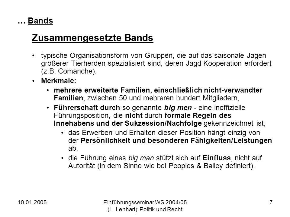 10.01.2005Einführungsseminar WS 2004/05 (L. Lenhart): Politik und Recht 7 … Bands Zusammengesetzte Bands typische Organisationsform von Gruppen, die a