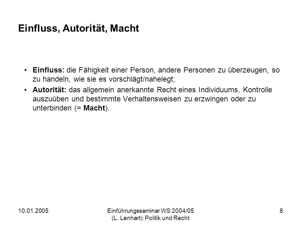 10.01.2005Einführungsseminar WS 2004/05 (L. Lenhart): Politik und Recht 8 Einfluss, Autorität, Macht Einfluss: die Fähigkeit einer Person, andere Pers
