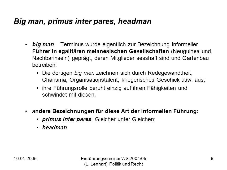 10.01.2005Einführungsseminar WS 2004/05 (L. Lenhart): Politik und Recht 9 Big man, primus inter pares, headman big man – Terminus wurde eigentlich zur