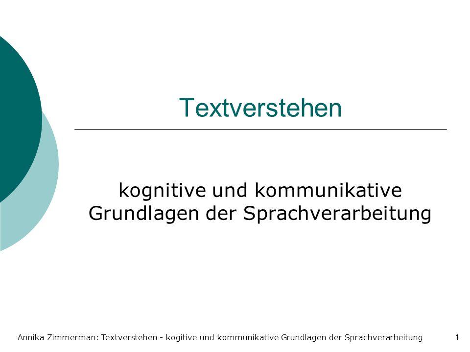 Annika Zimmerman: Textverstehen - kogitive und kommunikative Grundlagen der Sprachverarbeitung1 Textverstehen kognitive und kommunikative Grundlagen der Sprachverarbeitung