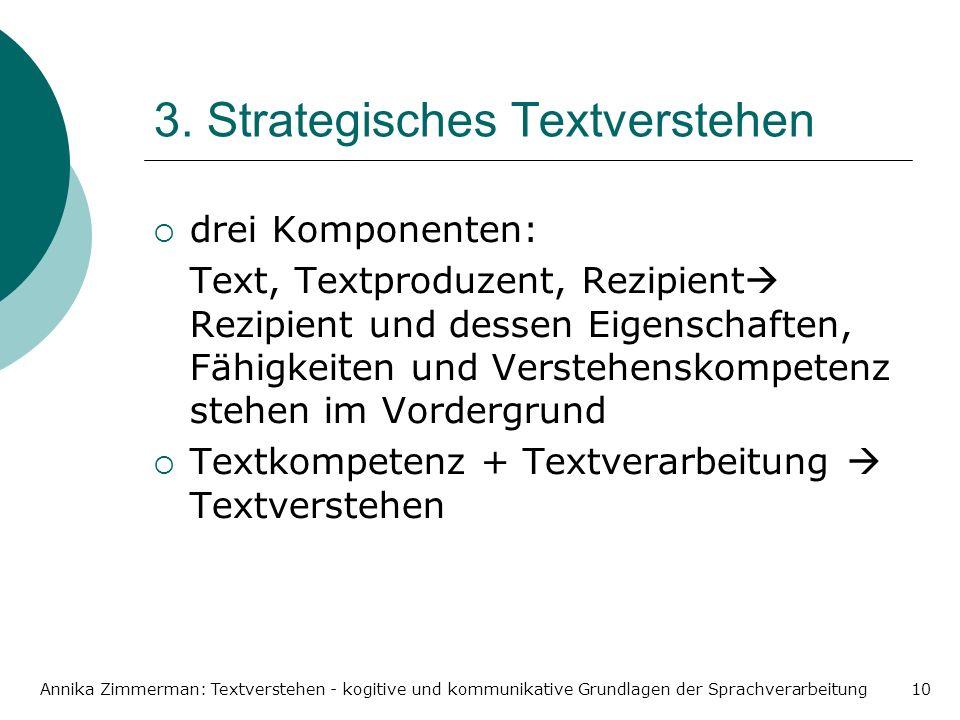 Annika Zimmerman: Textverstehen - kogitive und kommunikative Grundlagen der Sprachverarbeitung10 3. Strategisches Textverstehen drei Komponenten: Text