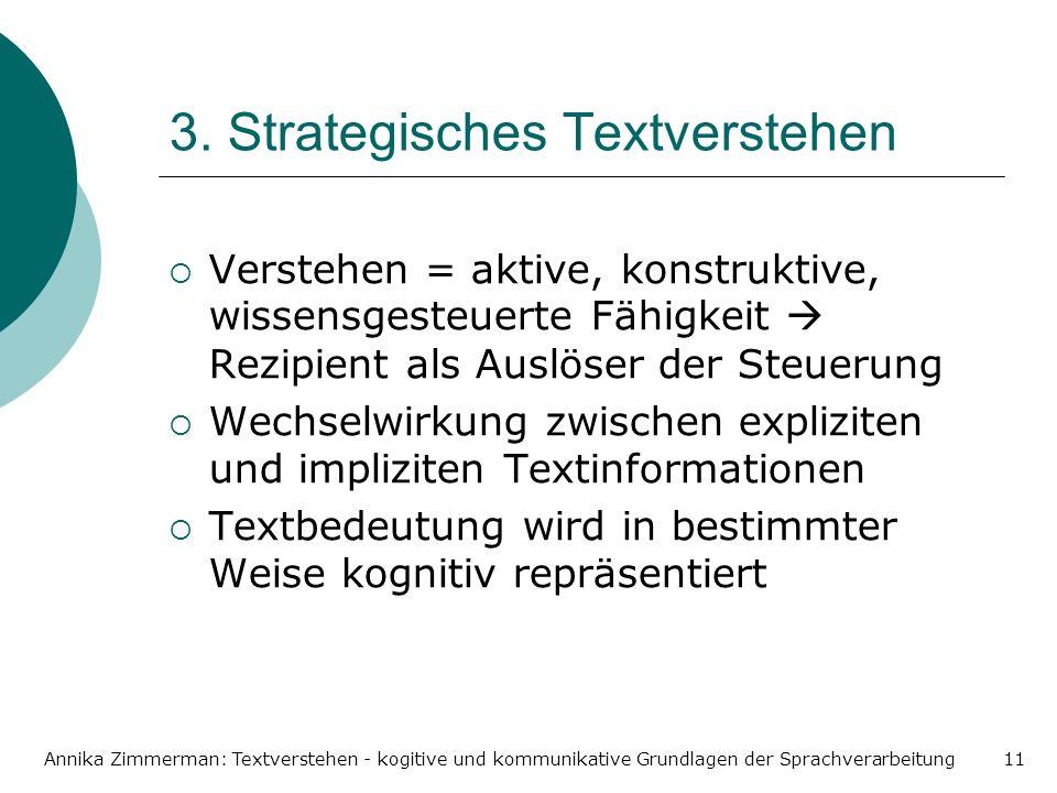 Annika Zimmerman: Textverstehen - kogitive und kommunikative Grundlagen der Sprachverarbeitung11 3. Strategisches Textverstehen Verstehen = aktive, ko