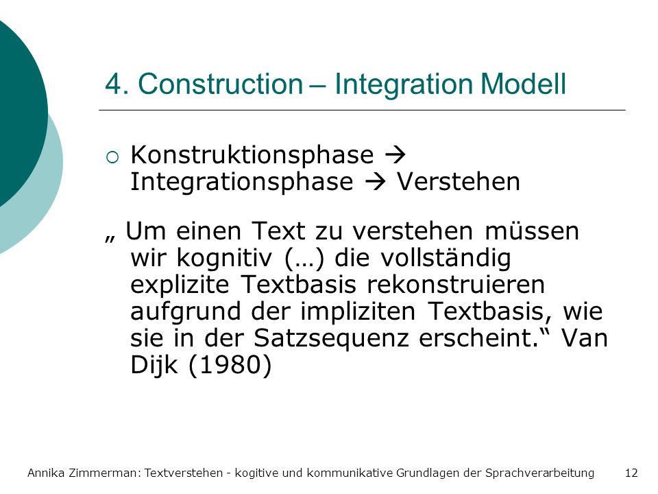 Annika Zimmerman: Textverstehen - kogitive und kommunikative Grundlagen der Sprachverarbeitung12 4. Construction – Integration Modell Konstruktionspha