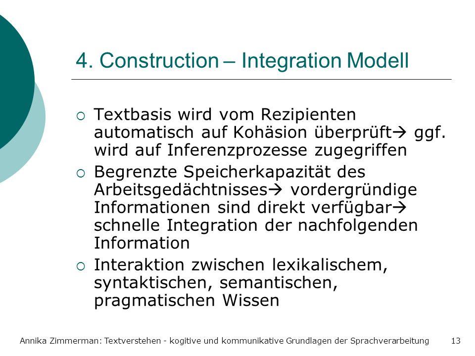 Annika Zimmerman: Textverstehen - kogitive und kommunikative Grundlagen der Sprachverarbeitung13 4. Construction – Integration Modell Textbasis wird v