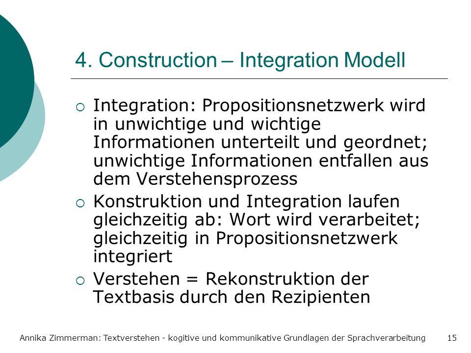 Annika Zimmerman: Textverstehen - kogitive und kommunikative Grundlagen der Sprachverarbeitung15 4. Construction – Integration Modell Integration: Pro