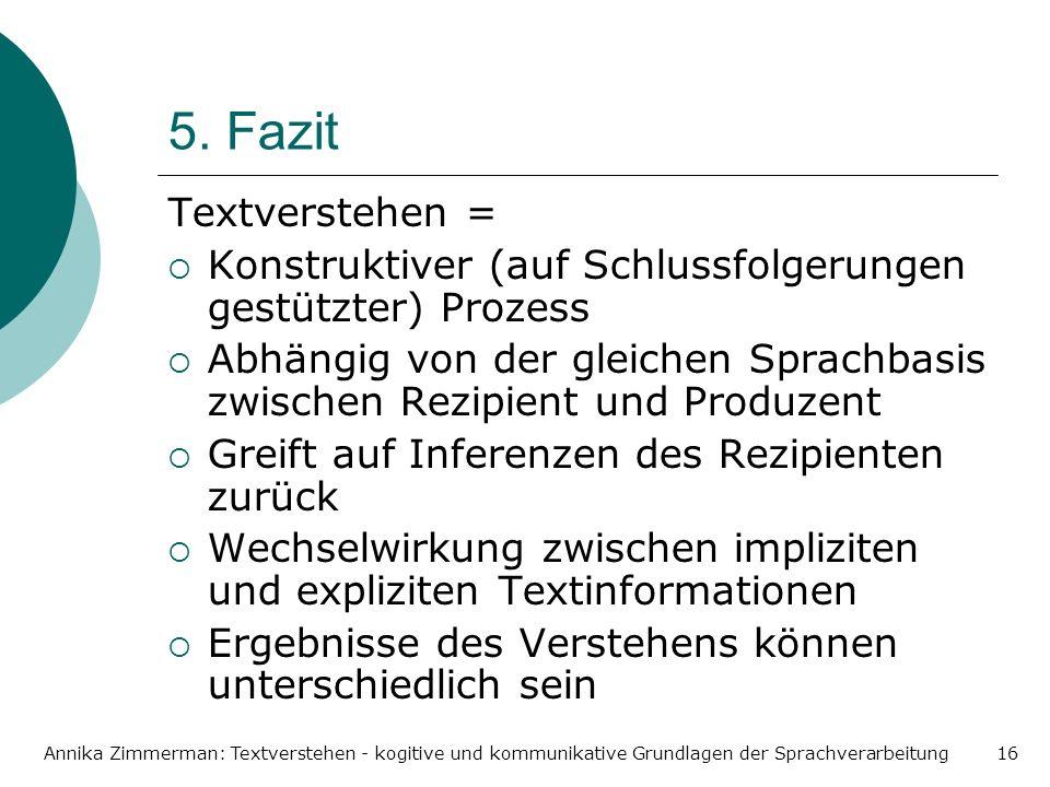 Annika Zimmerman: Textverstehen - kogitive und kommunikative Grundlagen der Sprachverarbeitung16 5. Fazit Textverstehen = Konstruktiver (auf Schlussfo