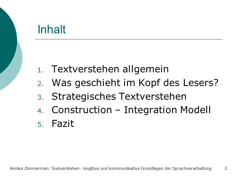Annika Zimmerman: Textverstehen - kogitive und kommunikative Grundlagen der Sprachverarbeitung2 Inhalt 1. Textverstehen allgemein 2. Was geschieht im
