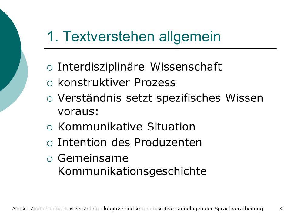 Annika Zimmerman: Textverstehen - kogitive und kommunikative Grundlagen der Sprachverarbeitung3 1. Textverstehen allgemein Interdisziplinäre Wissensch