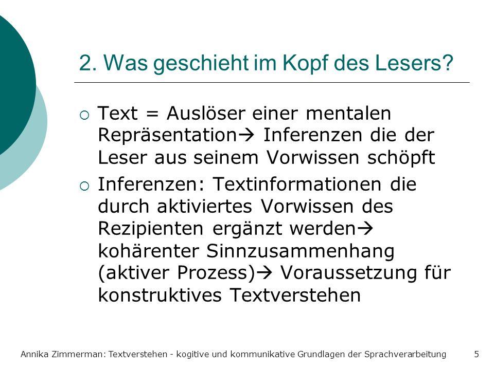 Annika Zimmerman: Textverstehen - kogitive und kommunikative Grundlagen der Sprachverarbeitung5 2. Was geschieht im Kopf des Lesers? Text = Auslöser e