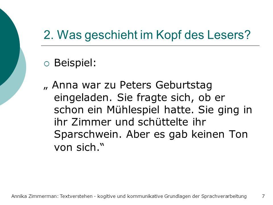 Annika Zimmerman: Textverstehen - kogitive und kommunikative Grundlagen der Sprachverarbeitung7 2. Was geschieht im Kopf des Lesers? Beispiel: Anna wa