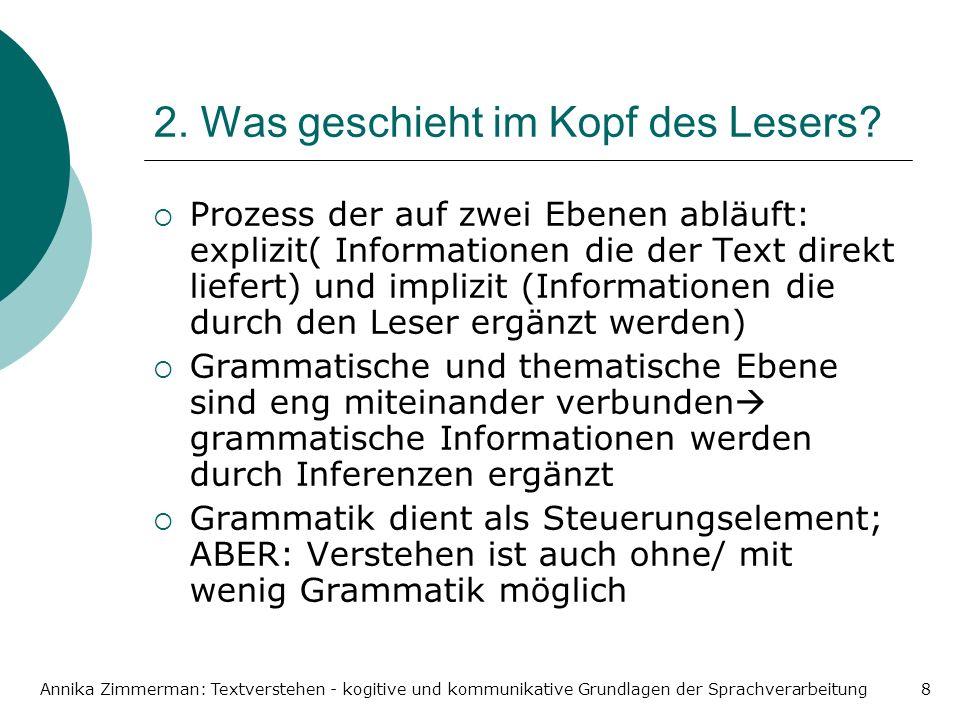 Annika Zimmerman: Textverstehen - kogitive und kommunikative Grundlagen der Sprachverarbeitung8 2. Was geschieht im Kopf des Lesers? Prozess der auf z