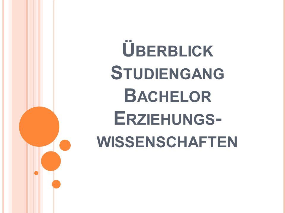 Ü BERBLICK S TUDIENGANG B ACHELOR E RZIEHUNGS - WISSENSCHAFTEN