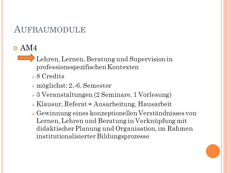 A UFBAUMODULE AM4 Lehren, Lernen, Beratung und Supervision in professionsspezifischen Kontexten 8 Credits möglichst: 2.-6.