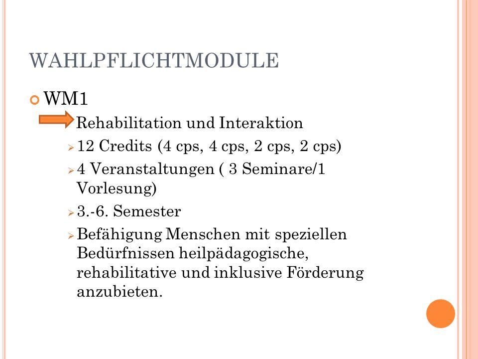 WAHLPFLICHTMODULE WM1 Rehabilitation und Interaktion 12 Credits (4 cps, 4 cps, 2 cps, 2 cps) 4 Veranstaltungen ( 3 Seminare/1 Vorlesung) 3.-6.