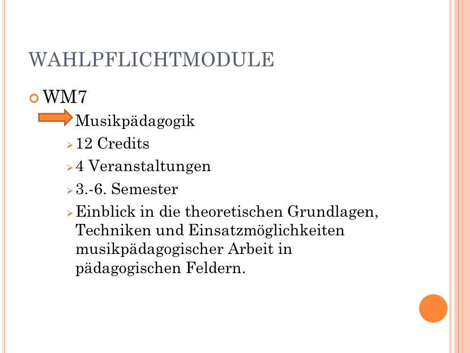 WAHLPFLICHTMODULE WM7 Musikpädagogik 12 Credits 4 Veranstaltungen 3.-6.