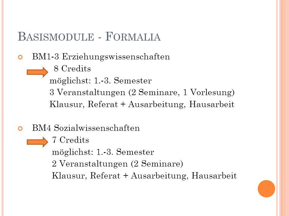 B ASISMODULE - F ORMALIA BM5 und BM6 11 Credits 1 Vorlesung mit Klausur (4 Cps) 1 Seminar mit Aktiver Teilnahme (2Cps) 1 Seminar mit Aktiver Teilnahme (2 Cps) und Hausarbeit (3Cps) möglichst:1.-3.