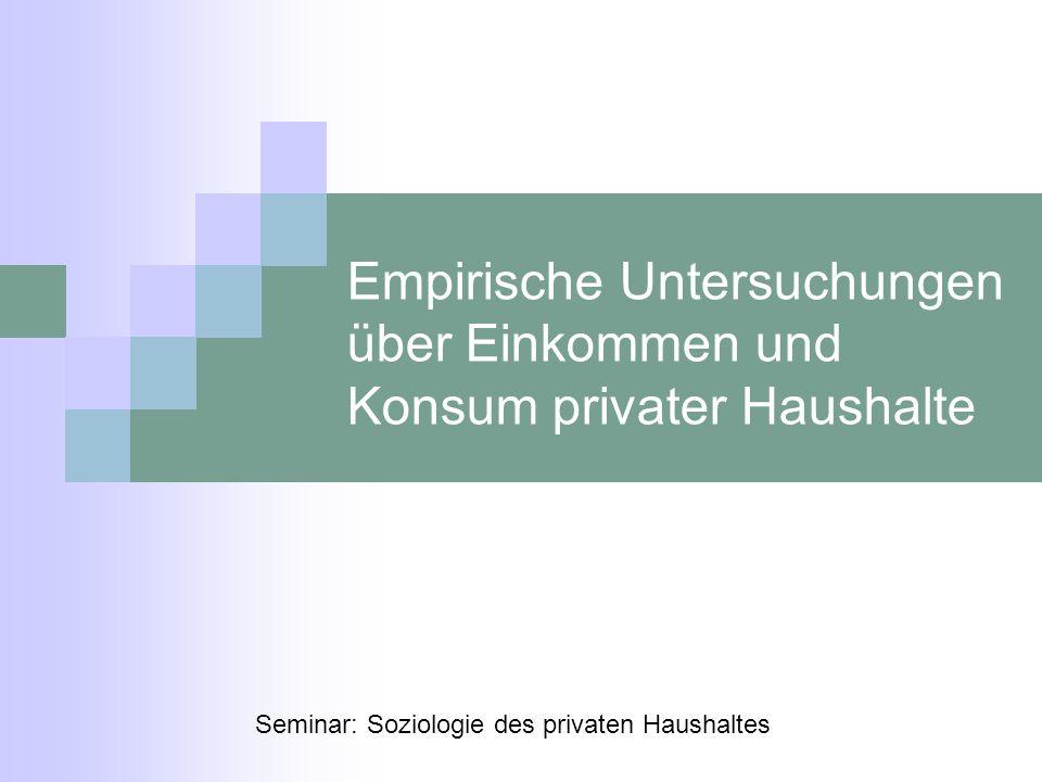 Empirische Untersuchungen über Einkommen und Konsum privater Haushalte Seminar: Soziologie des privaten Haushaltes