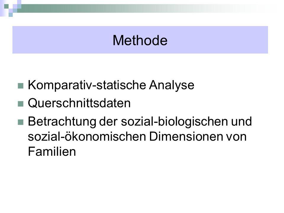 Methode Komparativ-statische Analyse Querschnittsdaten Betrachtung der sozial-biologischen und sozial-ökonomischen Dimensionen von Familien