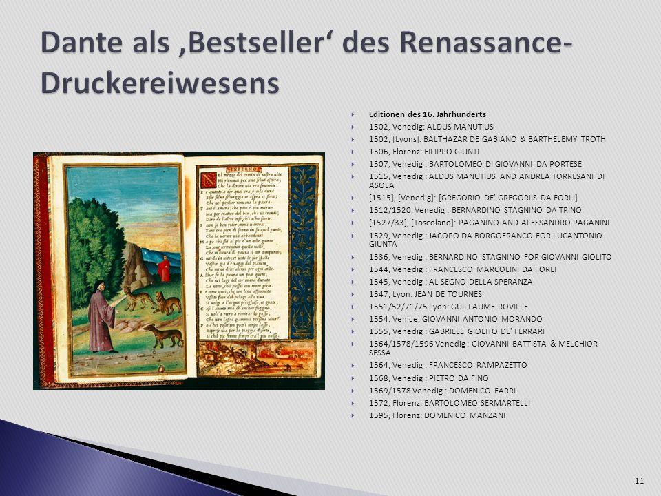 Editionen des 16. Jahrhunderts 1502, Venedig: ALDUS MANUTIUS 1502, [Lyons]: BALTHAZAR DE GABIANO & BARTHELEMY TROTH 1506, Florenz: FILIPPO GIUNTI 1507