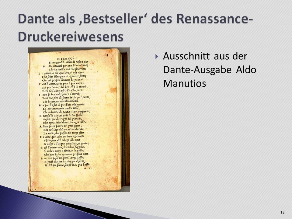 Ausschnitt aus der Dante-Ausgabe Aldo Manutios 12