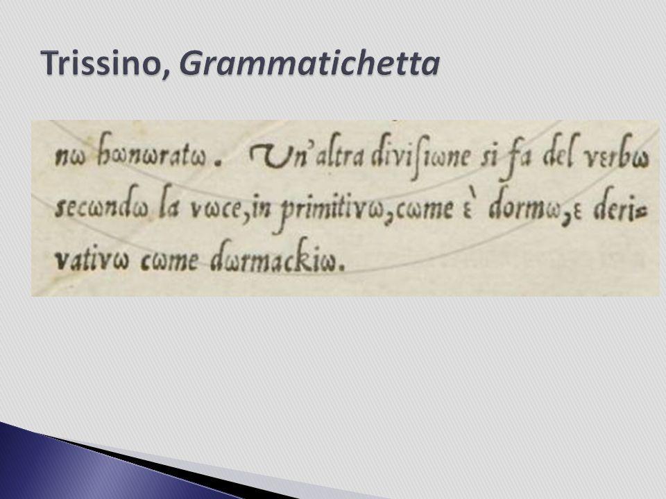 Agnolo Firenzuola (1493-1543) weist die Vorschläge Trissinos in seiner Streitschrift Discacciamento de le nuove lettere, inutilmente aggiunte ne la lingua toscana zurück, während Giovanni Pierio Valeriano in seinem Dialogo della volgar lingua für Trissino Partei ergreift.