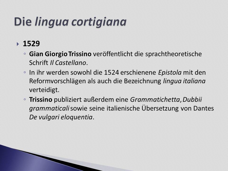 1529 Gian Giorgio Trissino veröffentlicht die sprachtheoretische Schrift Il Castellano. In ihr werden sowohl die 1524 erschienene Epistola mit den Ref