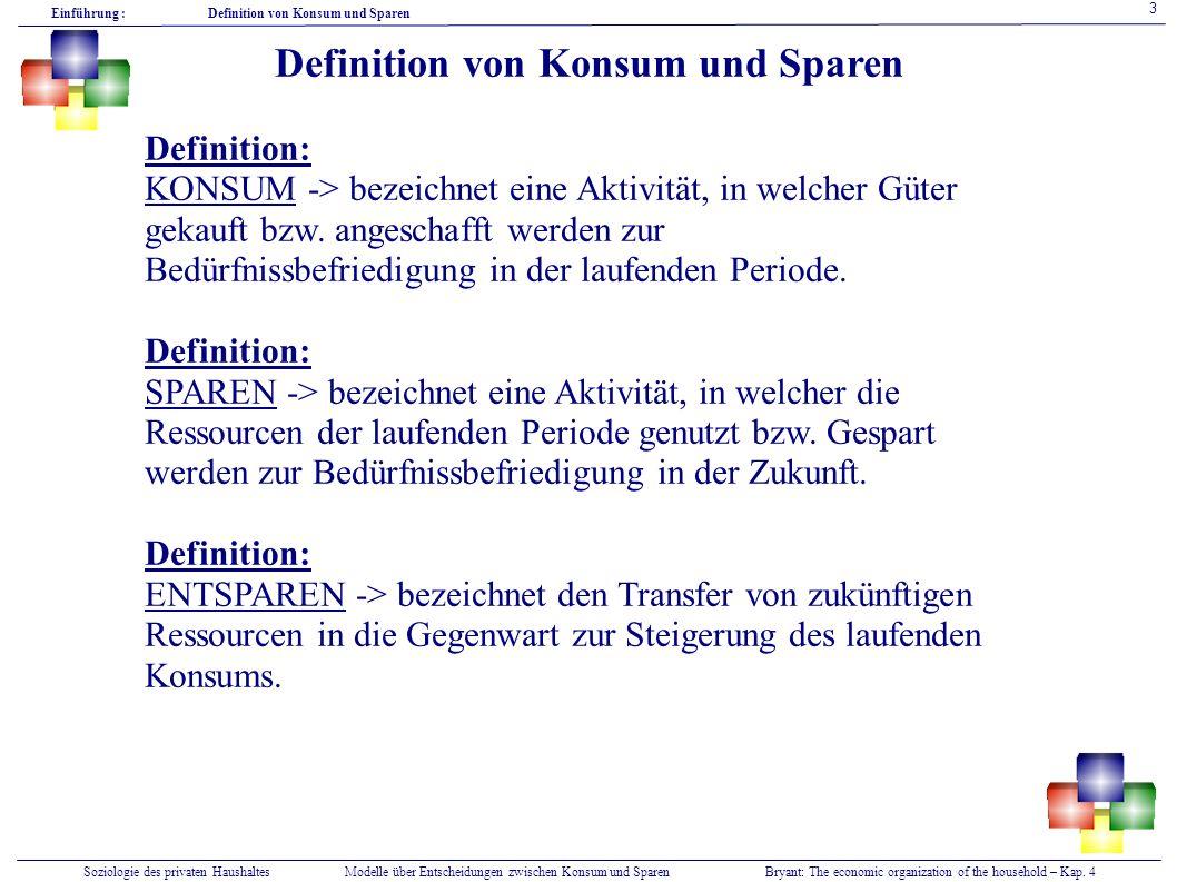 Soziologie des privaten HaushaltesModelle über Entscheidungen zwischen Konsum und SparenBryant: The economic organization of the household – Kap.