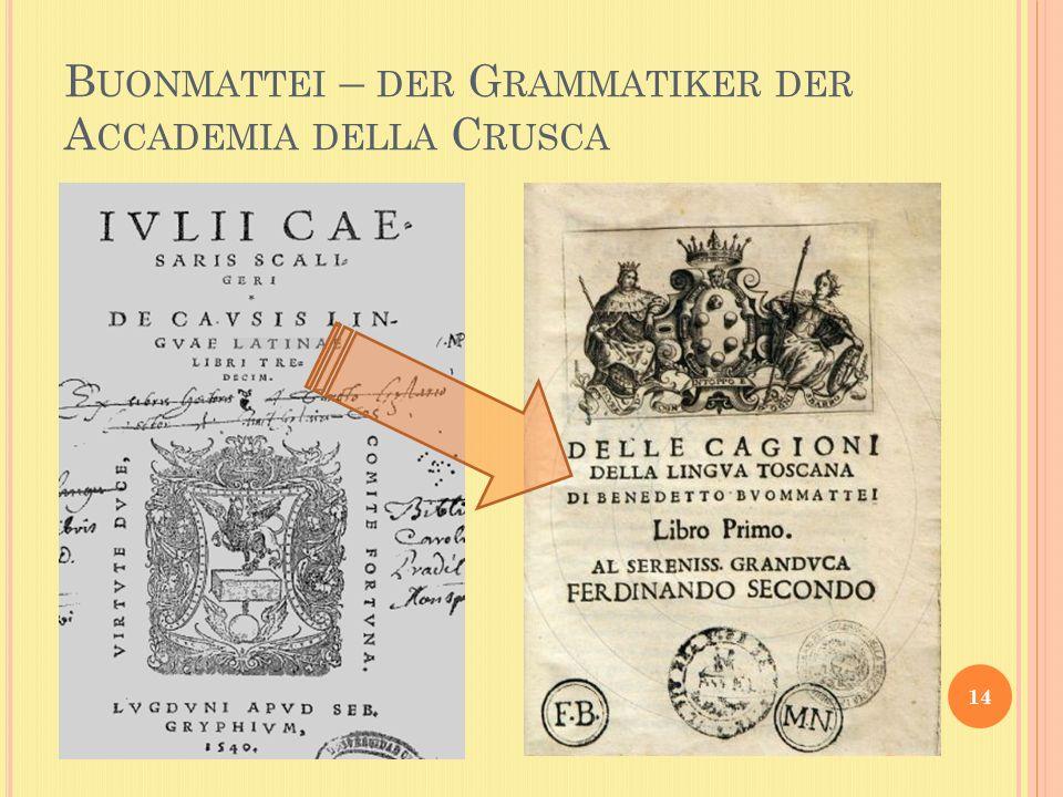 B UONMATTEI – DER G RAMMATIKER DER A CCADEMIA DELLA C RUSCA 14