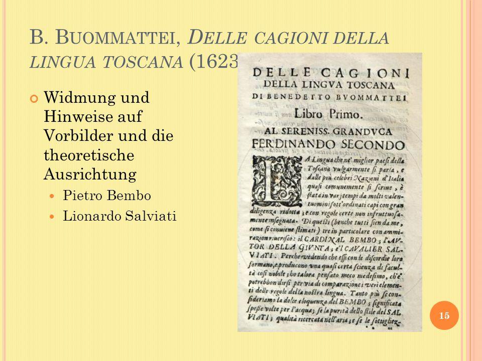 B. B UOMMATTEI, D ELLE CAGIONI DELLA LINGUA TOSCANA (1623) 15 Widmung und Hinweise auf Vorbilder und die theoretische Ausrichtung Pietro Bembo Lionard