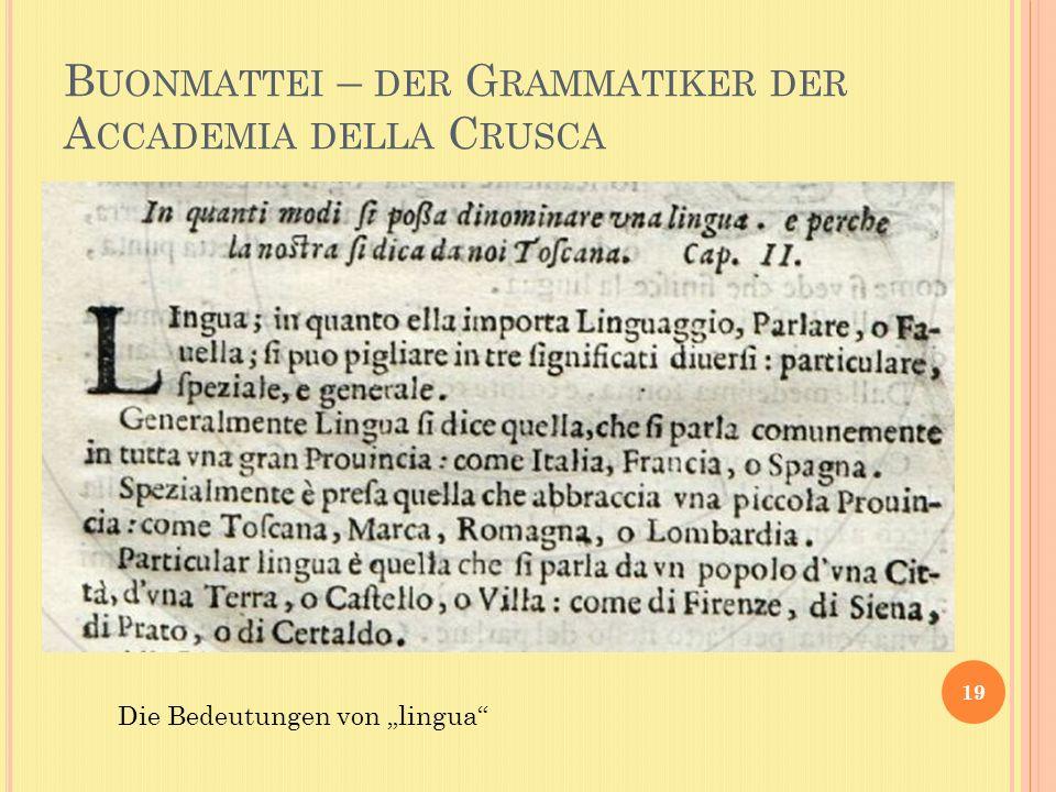 B UONMATTEI – DER G RAMMATIKER DER A CCADEMIA DELLA C RUSCA 19 Die Bedeutungen von lingua