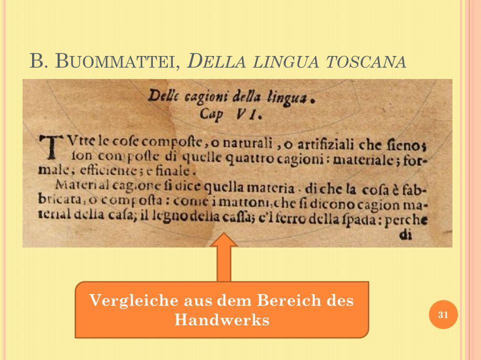 B. B UOMMATTEI, D ELLA LINGUA TOSCANA 31 Vergleiche aus dem Bereich des Handwerks