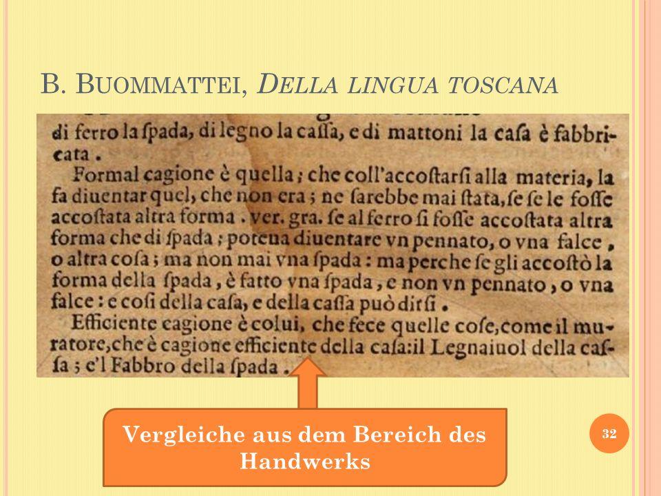 B. B UOMMATTEI, D ELLA LINGUA TOSCANA 32 Vergleiche aus dem Bereich des Handwerks
