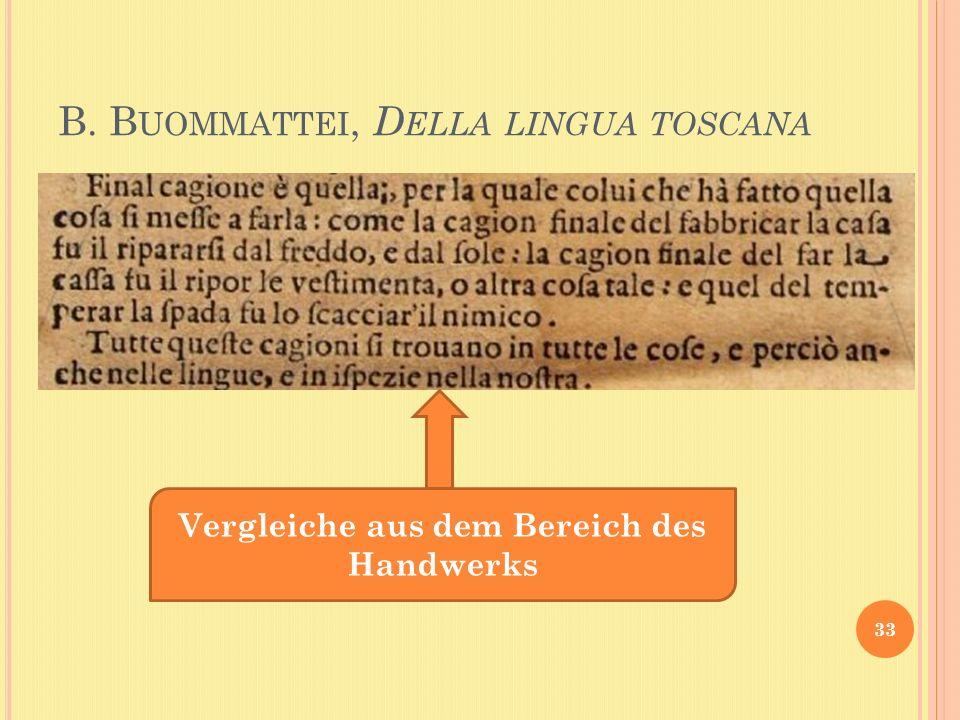B. B UOMMATTEI, D ELLA LINGUA TOSCANA 33 Vergleiche aus dem Bereich des Handwerks