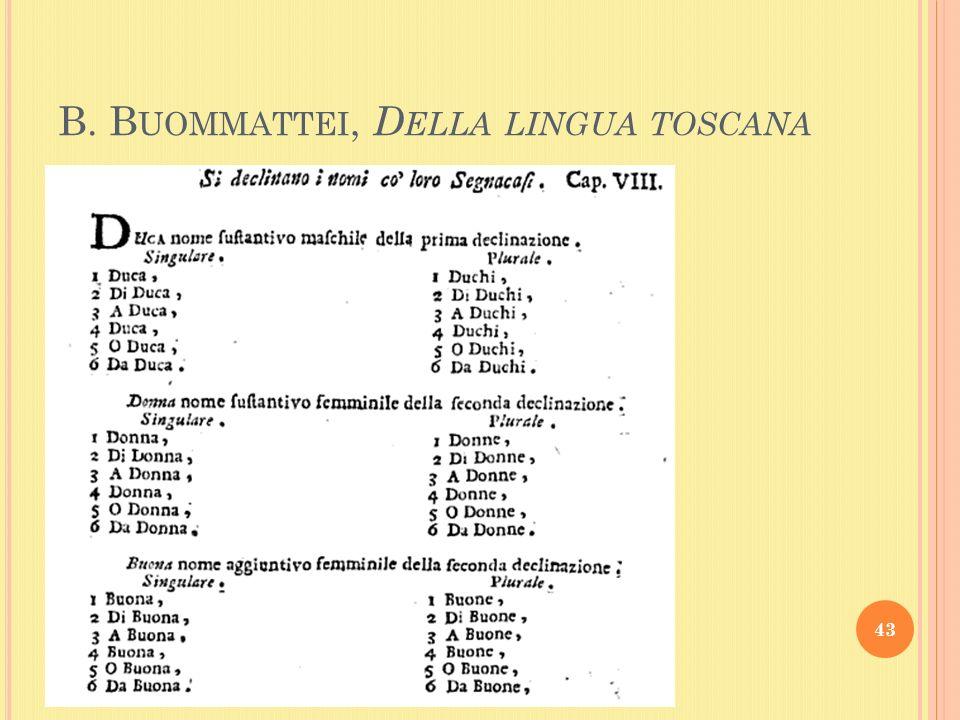 B. B UOMMATTEI, D ELLA LINGUA TOSCANA 43