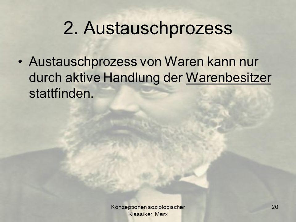 Konzeptionen soziologischer Klassiker: Marx 20 2. Austauschprozess Austauschprozess von Waren kann nur durch aktive Handlung der Warenbesitzer stattfi