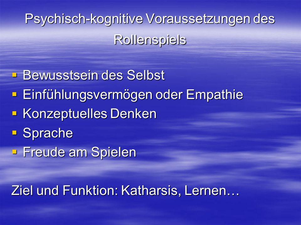 Psychisch-kognitive Voraussetzungen des Rollenspiels Bewusstsein des Selbst Bewusstsein des Selbst Einfühlungsvermögen oder Empathie Einfühlungsvermögen oder Empathie Konzeptuelles Denken Konzeptuelles Denken Sprache Sprache Freude am Spielen Freude am Spielen Ziel und Funktion: Katharsis, Lernen…